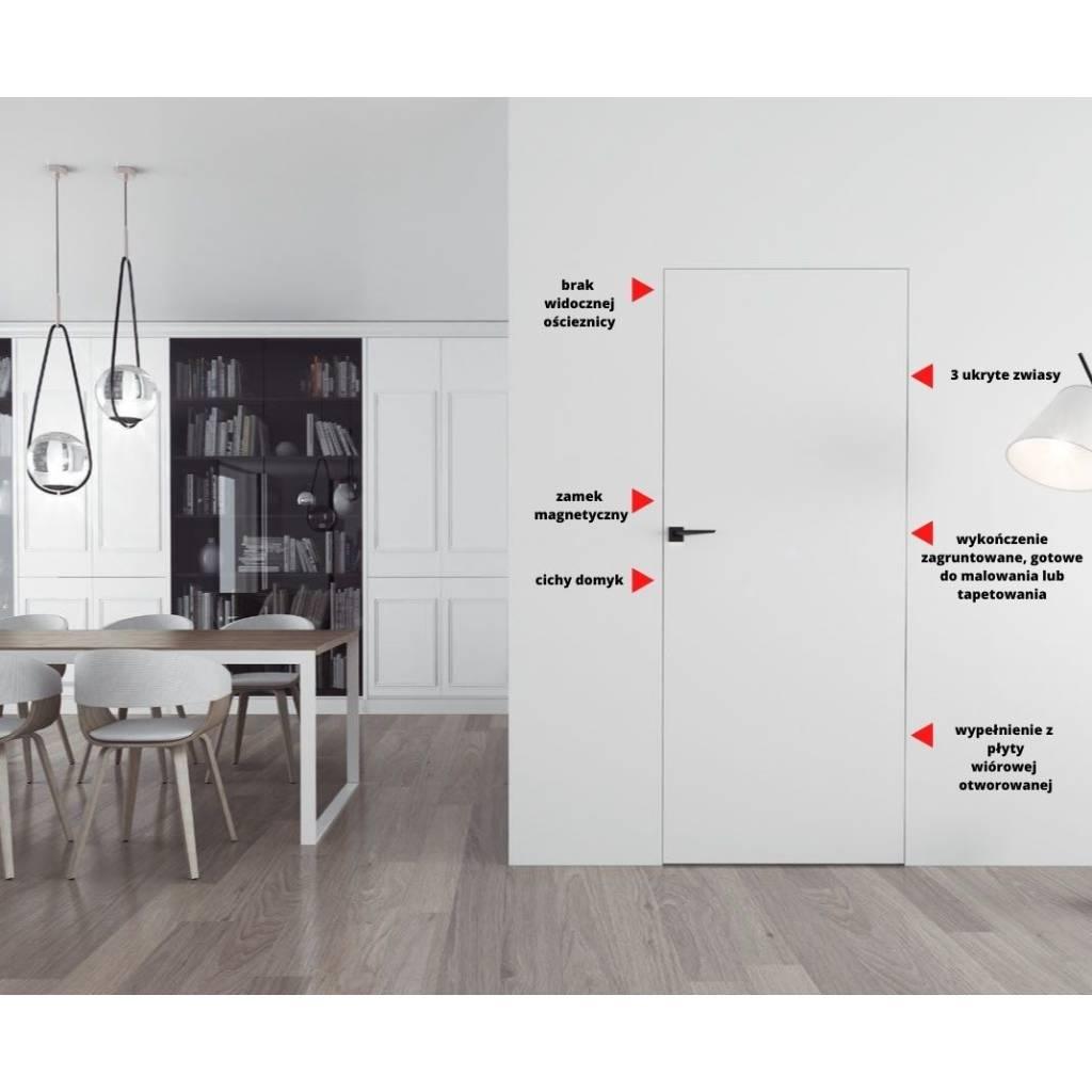 Drzwi wewnętrzne Sara Eco 2 bezprzylgowe ukryte prawe