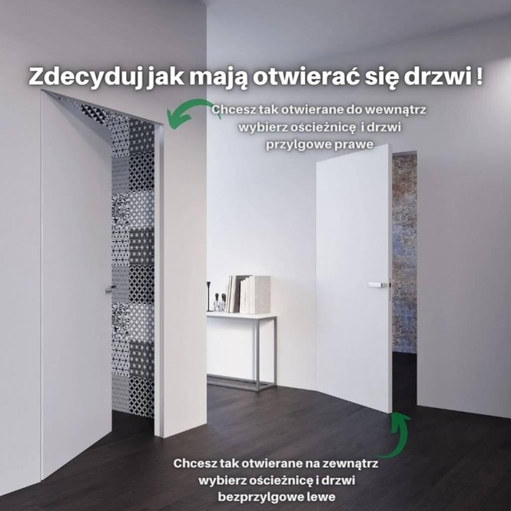 Drzwi wewnętrzne Sara Eco 2 bezprzylgowe ukryte lewe WC