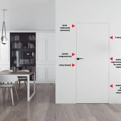 Drzwi wewnętrzne  Sara Eco 2 przylgowe ukryte prawe